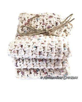 Crochet Dishcloths Eco Friendly Cotton Wash Towels Beige Set of 3 Handmade
