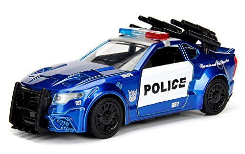 "Barricade Custom Police Car From ""Transformers 5"" Movie 1/32 by Jada 98394  Has opening doors. Detailed interior, exterior. Dimensions approximately L-4.5, H-2, W-2 inches."