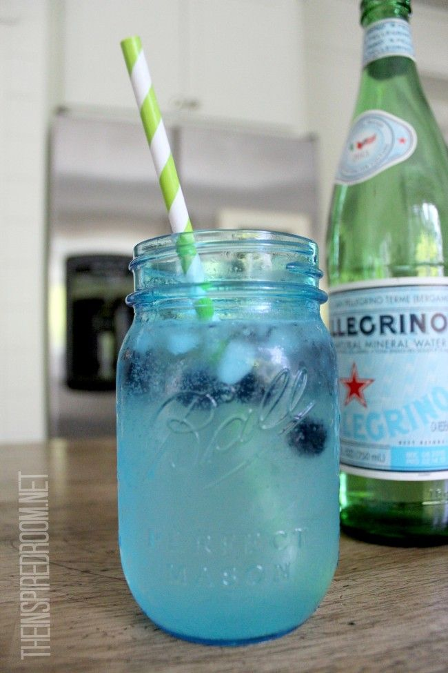 crushed ice sparkling water frozen blueberries squeeze of lime-refreshing!