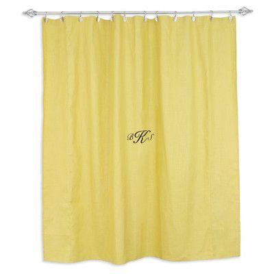 Brite Ideas Living Circa Solid Pina Standard Cut Shower Curtain Monogram: Yes
