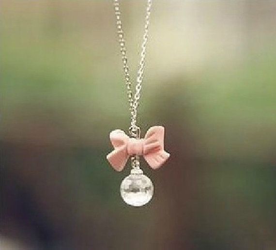Adorable ♡  https://www.etsy.com/listing/176184385/cute-long-chain-pink-bow-crystal