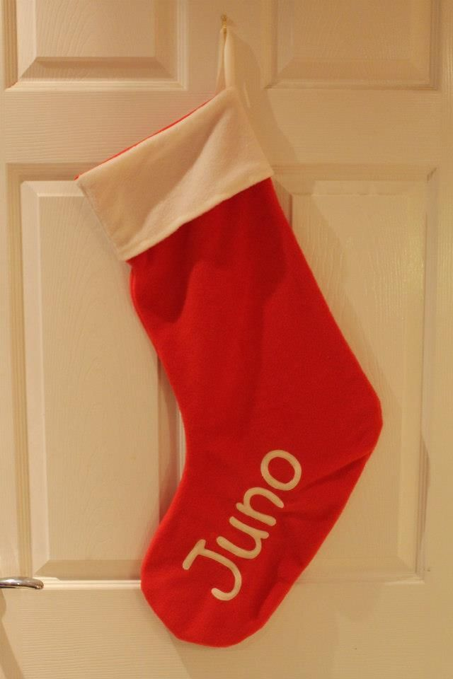 My daughters stocking.  Made with fleece and lined also.  Stockings can be made any size, with any name on also. www.facebook.com/lovehelm2012