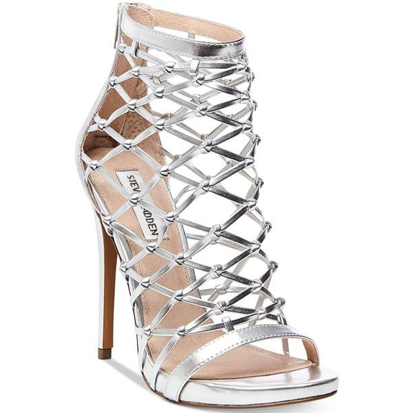 Steve Madden Women's Ursula Caged Dress Sandals ($74) ❤ liked on Polyvore featuring shoes, sandals, silver, silver dress sandals, strappy sandals, platform sandals, silver shoes and silver platform sandals