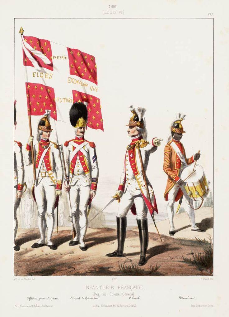 1786. Louis XVI. Infanterie Française: Rég.t de Colonel-Général; Officier porte-drapeau; Caporal de Grenadier; Colonel; Tambour