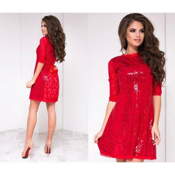 Шикарное женское вечернее платье ровного кроя с пайетками красное