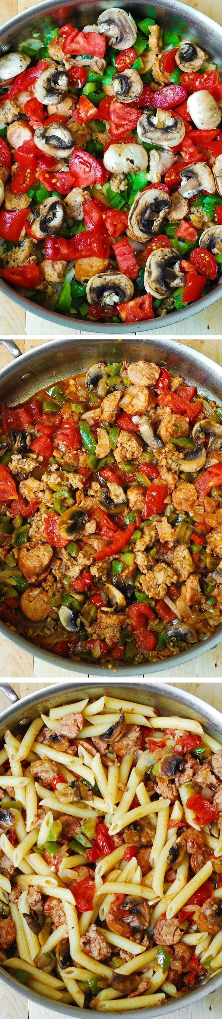 Italian Sausage Pasta with Vegetables. Italian sausage is seared with bell peppers, mushrooms, onions, fresh tomatoes in cajun spices, with a splash of red wine!