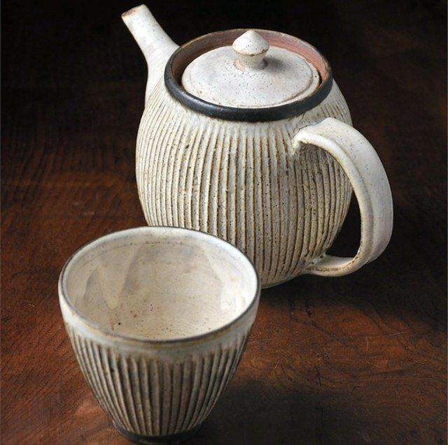 Teapot and cup by Japanese master potter Akio Nukaga.