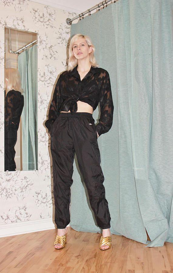 REEBOK sweatpants black swish joggers streetwear lounge wear extra small xs track pant