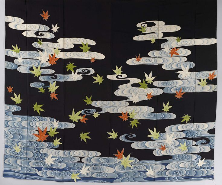 Week 36: Kimono: Susoshiki with maple leafs in the Tatsuta river, 1920–1940