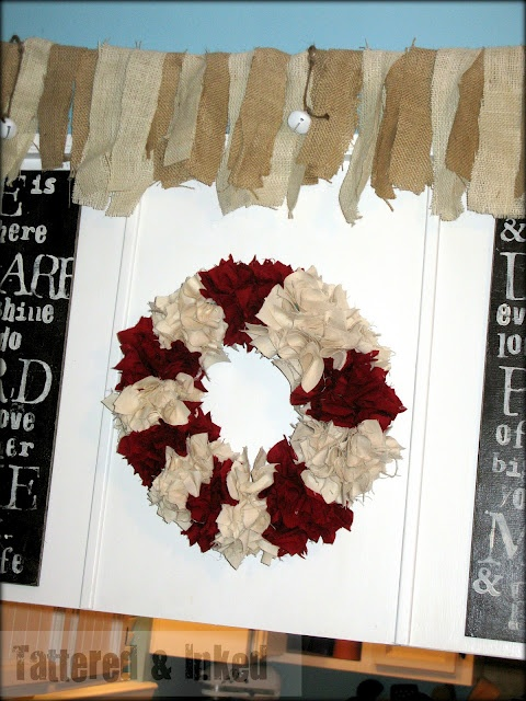 linen and fabric wreath
