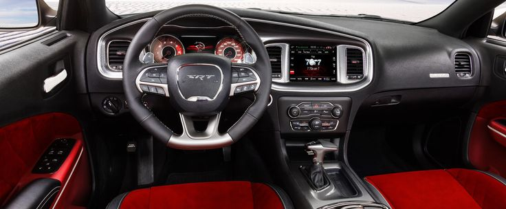 2015 Dodge Charger SRT Hellcat Interior | Loving the Black and Red trim on this one | Reminds us of Retro Dodge Colors, combined with modern Tech features | Read full review