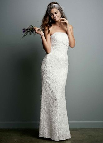 c8312cedac davids bridal Galina Allover Beaded Lace Sheath Gown with Empire Waist.  Style S8551  300