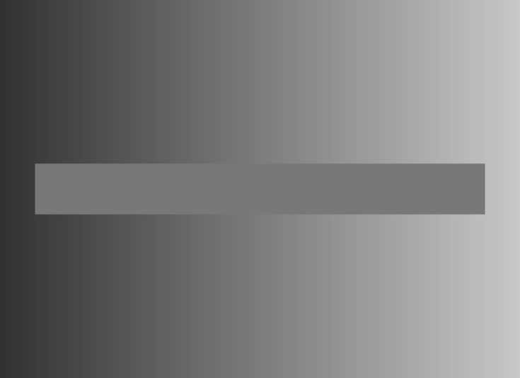 Simultaneous Contrast Illusion. The background is a colour gradient and progresses from dark grey to light grey. The horizontal bar appears to progress from light grey to dark grey, but is in fact just one colour.