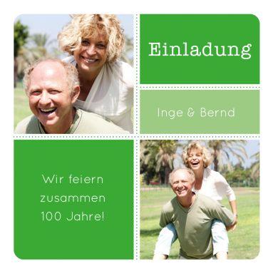 Grafische Einladung In Steingrau Mit Zwei Fotos Für Einen Gemeinsamen  Geburtstag (Doppelgeburtstag). Nur Fotos Und Texte Einsetzen!