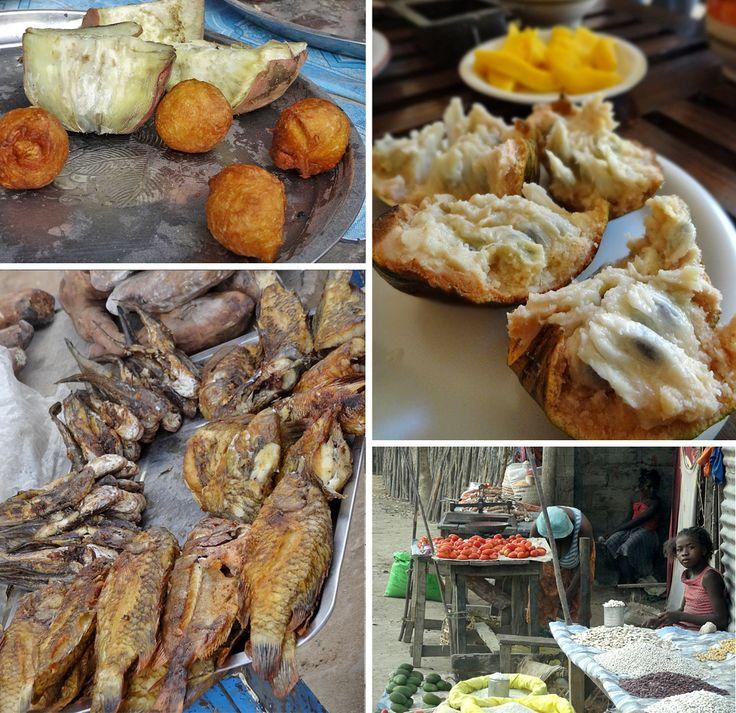 Frische Früchte und frittierter Fisch