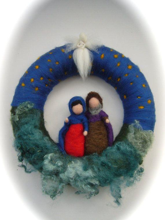 Wreath JosephMaryJesusAngelChristmas. Needle Felted. by FilzArts