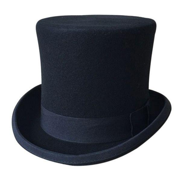 Black Deluxe Top Hat Mat Hatter Magician Wedding Fedora Party Costume Formal Men