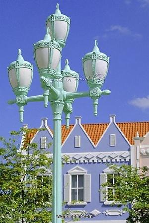 Typical pastel shades on mock Dutch architecture, Aruba, Dutch Antilles, Caribbean, West Indies!