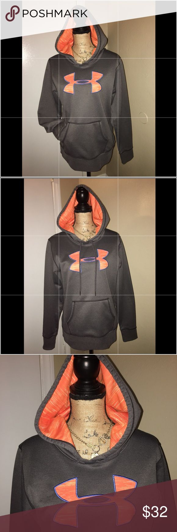 New Under Armour Women's Hoodie Sweater Brand New (Nwot) - Flawless! Under Armour Storm 1  - Hoodie / Sweater  Drawstring at neck / Pocket in front. Colors - Gray / Grey, Orange & Blue Women's/ Ladies - Size Medium M Keywords - Workout / Yoga / Fitness / Running / Jogging / Gym / Athletic / Casual  Please FOLLOW ME & check out the other items in my closet. BUNDLE & SAVE! I offer a discount when items are bundled & you only pay shipping one time!! Thank you & Happy Poshing! 🙏🏼❤️ Under…