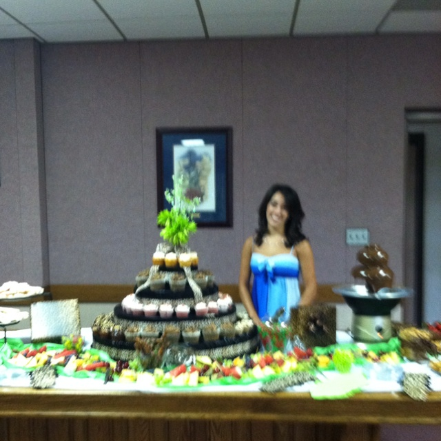 A cupcake fruit chocolate fountain display for a for Open house photos