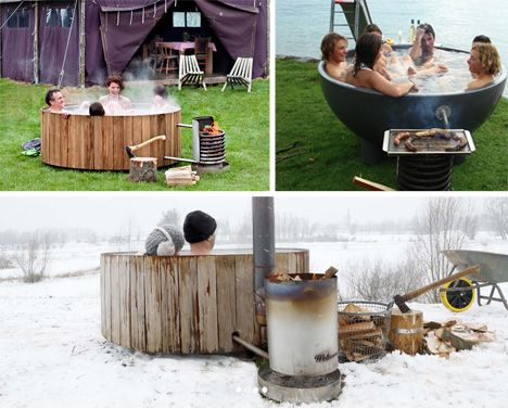 Hot Cup of Tub: Portable Wood-Fired Outdoor Soaking Pool...I will eventually have one of these.
