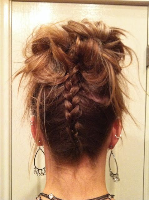 I had absolutely the hardest time trying to figure out what to do with my hair for New Year's Eve. There was the Holiday Updo, the Braided Bun, the Headband Chignon... I just had too many ideas.  I resorted to asking Daniel and his family what they thought. They immediately said a messy bun with a braid up the back. Done. No hairspray, teasing or curling required.