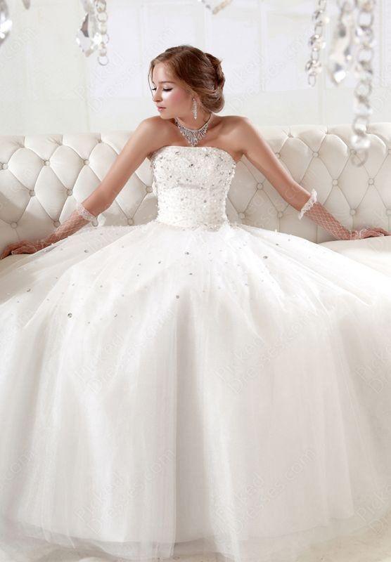 Find Wholesale - BallGown Strapless Tulle Satin Floor-length White Rhinestone Wedding Dresses at Pickeddresses.com