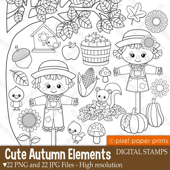 PPP Store - Cute Autumn Elements - Digital stamps