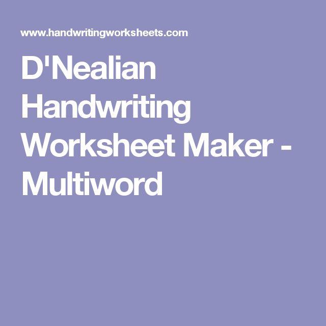 D'Nealian Handwriting Worksheet Maker - Multiword
