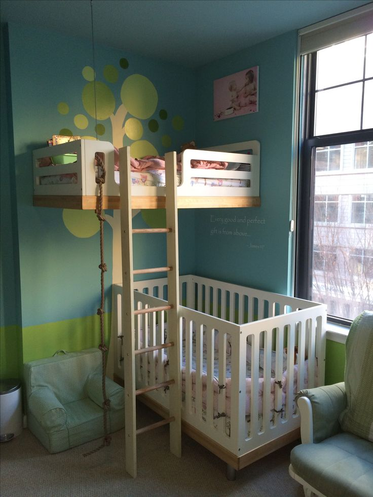 "3 kids in one room? No problem! We had our 2.5 year old, 18 month old  newborn sharing a room in our condo. We just hung the toddler bed from the wall  ceiling to open up space. My oldest two are girls and love it. My first daughter calls it her ""bed in the sky."" An alternative to bunk beds (we didn't even have space for that!). All those out there room sharing--you CAN do it!!"