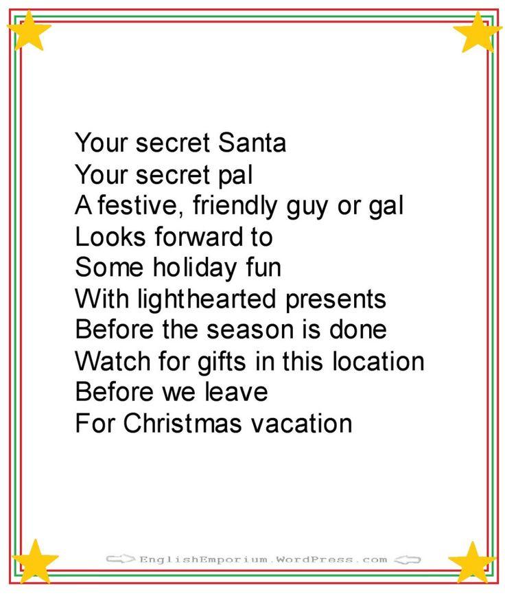Wedding Gift Holiday Poem : santa poems on Pinterest Good secret santa gifts, Secret santa gift ...