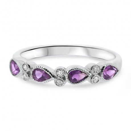 9ct White Gold Pear Shape Amethyst and Diamond Vintage Eternity Ring JL208