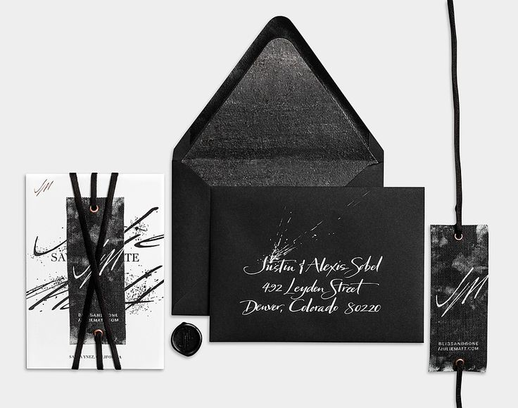 Black Letterpress and Copper Foil / Concrete Prints / Linen Tag / Black Leather Wrap / Save the Date / Invitation Suite / Anne Robin Calligraphy / Bliss & Bone