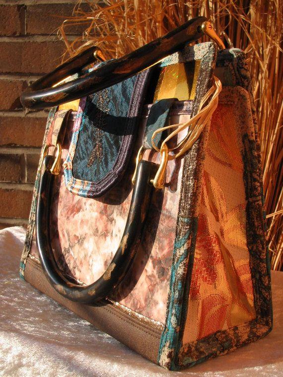 Pastel MARBLED PURSE HANDBAG Artwork  Petrol by TALLhappyCOLORS