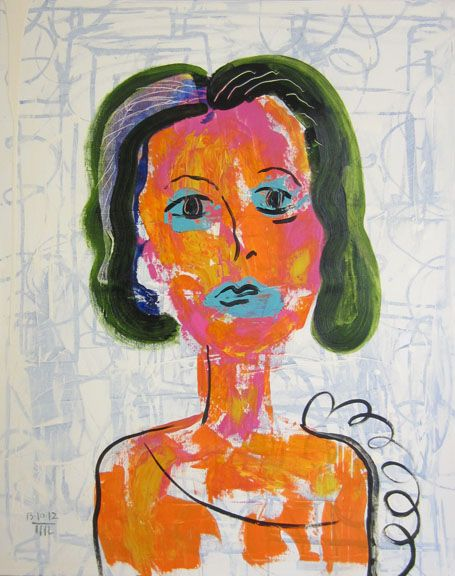 Woman with Green Hair (2012) by Marcus Reichert - Adelson Galleries Boston #adelsongalleries #marcusreichert #contemporaryart #neoexpressionism #abstract #figurative