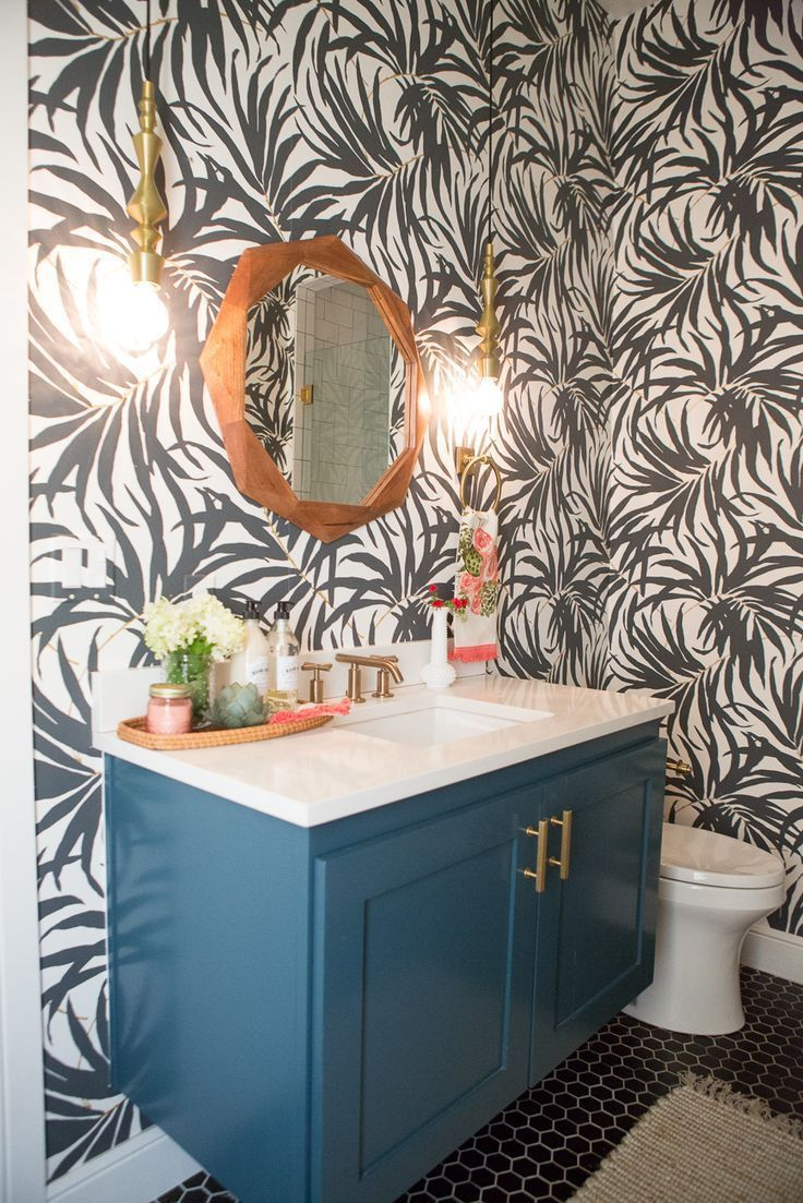 Homemade Painted Wallpaper Black And White Tiny Powder Rooms Toilet Room Decor Powder Room Small