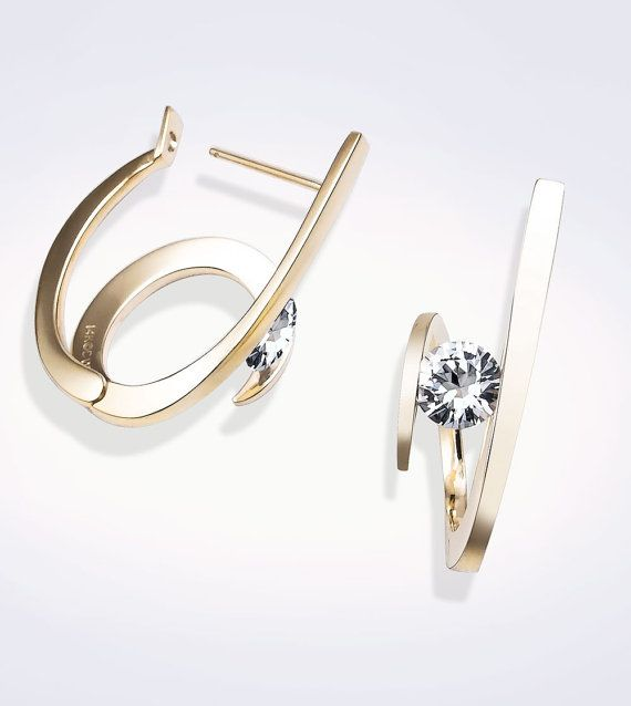 14k gold and white sapphire earrings designed by David Worcester for VerbenaPlaceJewelry.Etsy.com