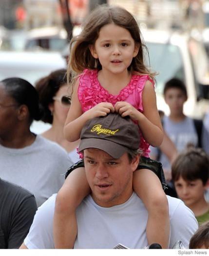 Parenting.com   23 Best Celebrity Fathers Matt Damon holding baby hot dad