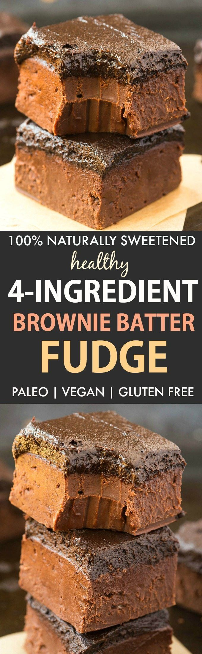 Healthy 4-Ingredient Brownie Batter Fudge (Paleo, Vegan, Gluten Free)- 100% Naturally sweetened chocolate fudge made with no condensed milk or refined sugar, and ultra smooth, melt-in-your-mouth and creamy!