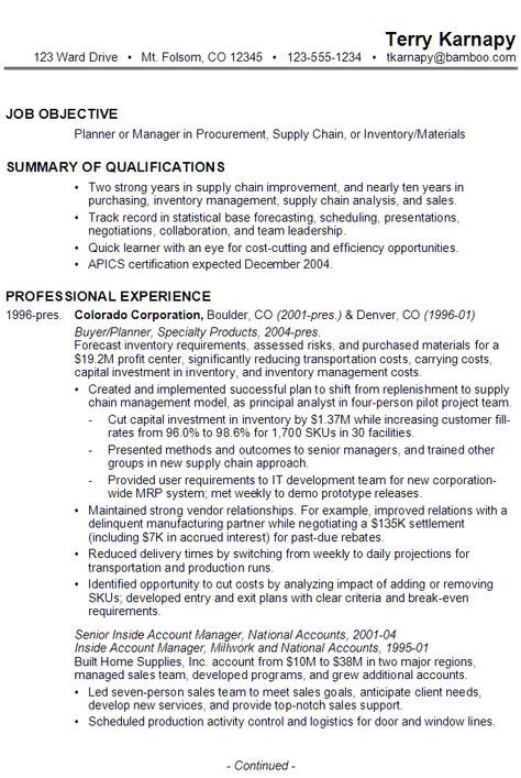 sample resume for someone seeking a job as a planner or manager in procurement  supply chain  or