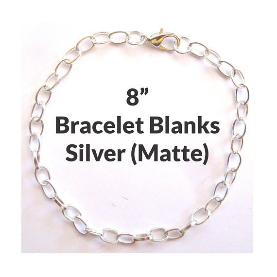 8inCharm Bracelet Blanks - Silver (Sterling Color)  Listing Quantity: Sold in lots of 5 or 25 Color: Silver (Sterling Color) Overall Length: 8 Link Size: 7mm Long x 4.5mm Wide x 1mm Thick Ships In: Same or next business day Shipping: $3.50 Flat Rate Shipping (US) Base Metal: Iron Closure: Lobster claw clasp and jump ring Note: There is very little difference between the Platinum and Sterling silver colors; however, platinum leans more stainless steel and sterling silver finish has a whiter…