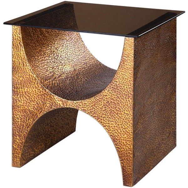 Rafaele copper accent table ($699) ❤ liked on Polyvore featuring home, furniture, tables, accent tables, copper table, colored furniture, copper furniture and traditional furniture