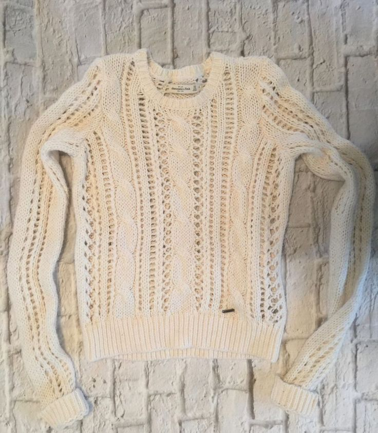 Abercrombie & Fitch Women's Cream Open Knit Cropped Sweater XS #AbercrombieFitch #OpenKnit