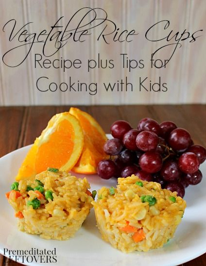 Vegetable Rice Cups Recipe + Tips for Cooking with Kids. Here is an easy lunch recipe and information on the #BensBeginners Cooking contest. #sp