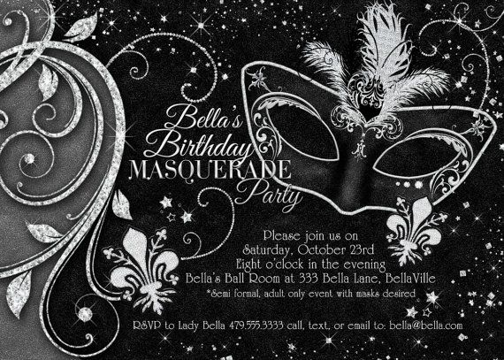 Masquerade Invitation Mardi Gras Invitation by BellaLuElla on Etsy, $12.00