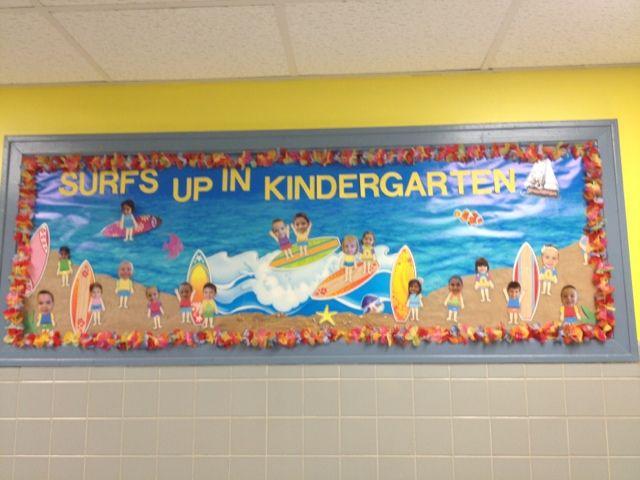 Beach theme bulletin board. Surfs up in kindergarten!