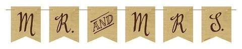 Rustic Wedding Mr. and Mrs Burlap Pennant Banner, each #ad #affiliate