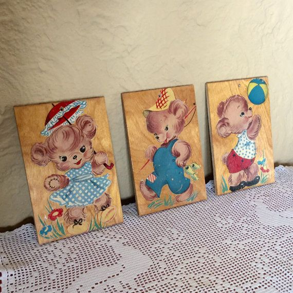 1950s Baby Decor  Midcentury Nursery Decor  Set by MyVintagePoint