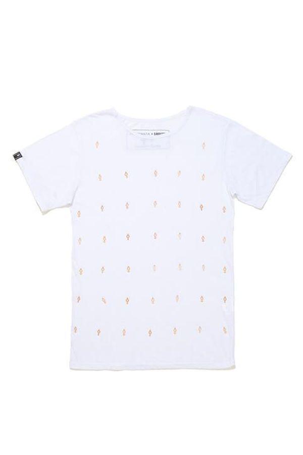 T-Shirt A Figurinista 01 B | T-Shirt em algodão.  Gola redonda.  Aplicações de símbolos em metal.