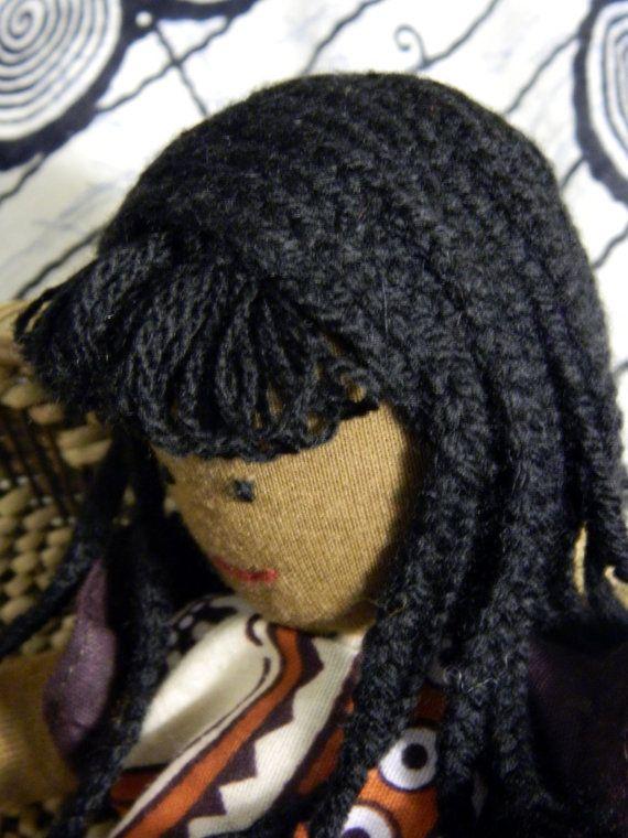 Bambola nera con vestito africano - bambola di stoffa maschio e femmina - ragazzo e ragazza nera waldorf bambola con abito africano